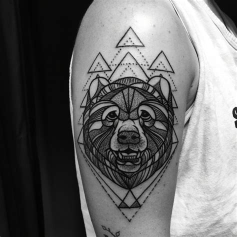 divine machine tattoo blackwork grizzly tattooed by noelle lamonica