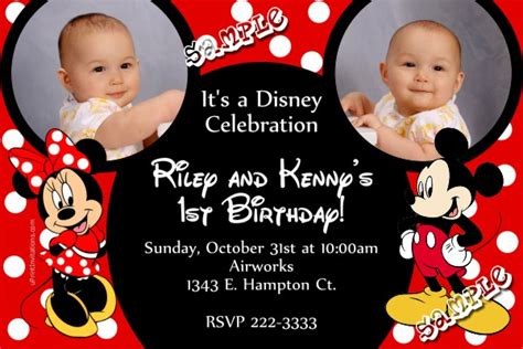mickey mouse and minnie mouse ears birthday invitations red