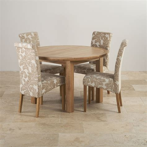 Solid Oak Extending Dining Table And 4 Chairs Knightsbridge Oak Dining Set 4ft Extending Table With 4 Scroll Back Patterned