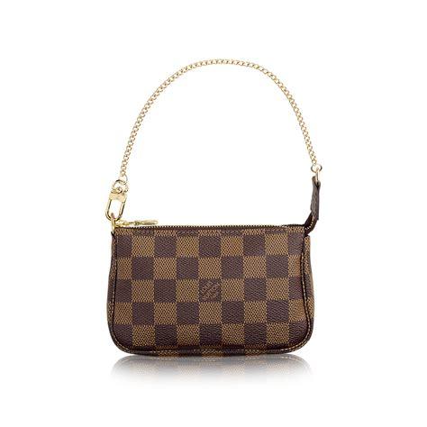 Tas Wanita Kulit Lv Clutch 2 Zipper Damier mini pochette accessoires damier ebene canvas handbags louis vuitton