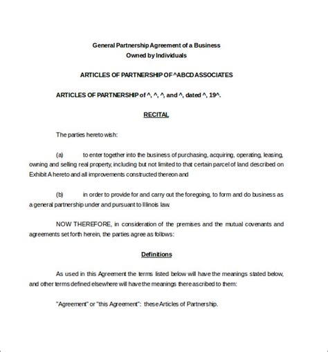 partnership agreement template 11 free word pdf