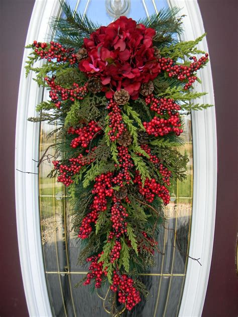 christmas teardrop swag door decor home for the holidays