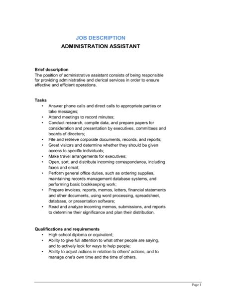 admin assistant description template administrative assistant description template