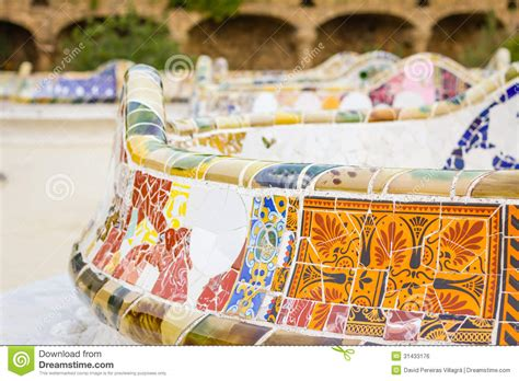 colorful bench detail of colorful mosaic in a bench of park guell