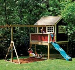 outside playhouse plans kids outdoor wooden playhouse swing set detailed plan ebay