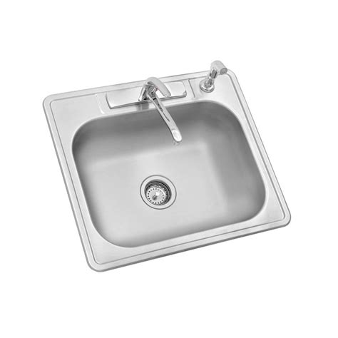 Top Stainless Steel Kitchen Sinks by Glacier Bay All In One Top Mount Stainless Steel 25 In 4