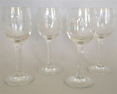 4 princess house heritage cordial handblown cut