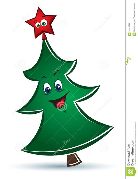cartoon funny vector christmas tree royalty free stock