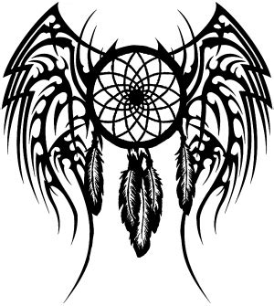 dreamcatcher with tribal wings car or truck window decal