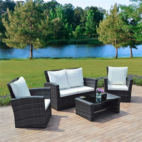 Weatherproof Patio Furniture Sets 4 Grey Algarve Rattan Sofa Set For Patios Conservatories And Terraces