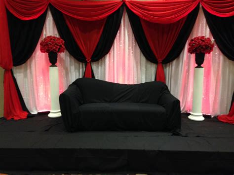 Pipe N Drape Red White And Black Backdrop Stage Blossom Events