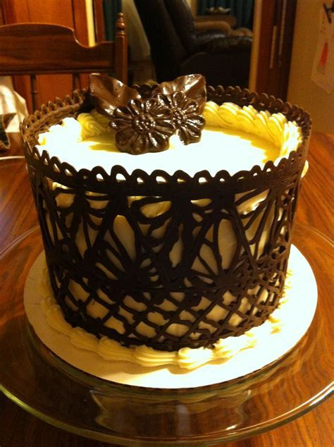 Dark Chocolate Lace Work Cake   Favorite Cake Designs