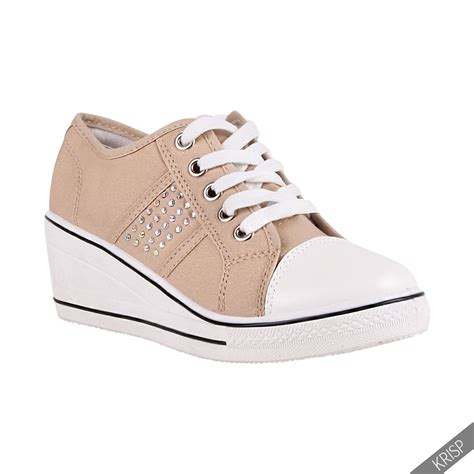 womens high top sneakers part 1 womens gem canvas high heel wedge trainers sneakers low