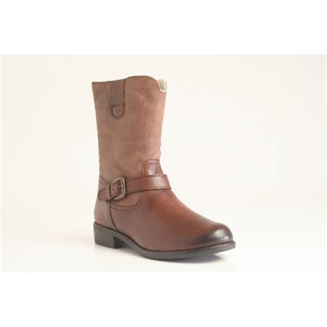 rugged ankle boots caprice rugged ankle boot in cognac leather with warm fleece lining caprice from nicholas