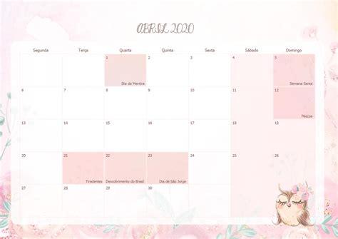 calendario mensal corujinha abril  fazendo  nossa festa