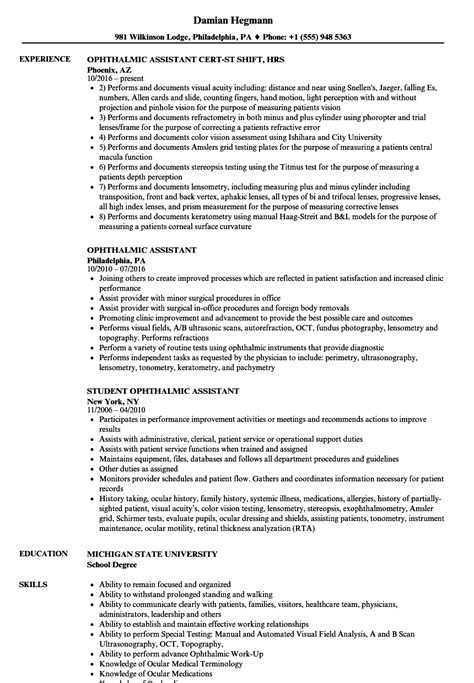 ophthalmic assistant resume images exle resume ideas alingari