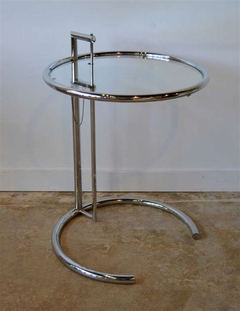 eileen gray chrome and glass side table e1027 at 1stdibs