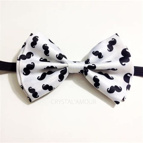 Handcrafted Bow Ties - mustache bowtie white handcrafted bow tie with