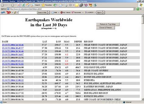 earthquake list earthquake monitor list