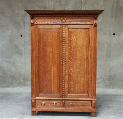 Antique Armoires Wardrobes - 768 large antique rustic oak renaissance armoire