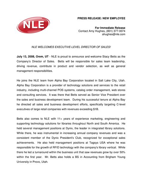 News Release Letter Sle Free Sle Press Release New Employee Templates At Allbusinesstemplates