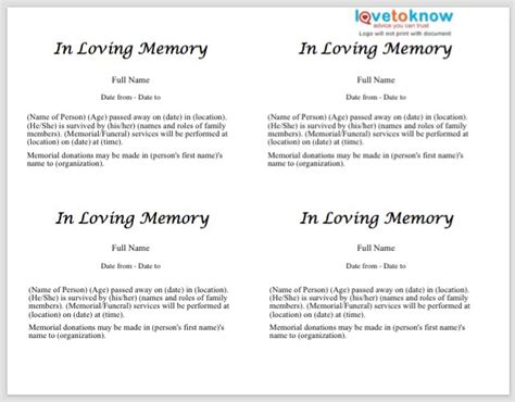 in memoriam donation cards template 25 obituary templates and sles template lab