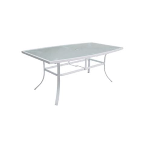 White Patio Dining Table by Shop Allen Roth Park Glass Top White Rectangle
