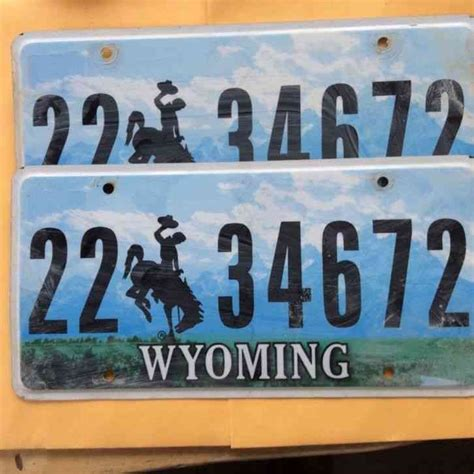 Wyoming Vanity Plates by Wyoming Centennial Discontinued Bronco 1988 Graphic
