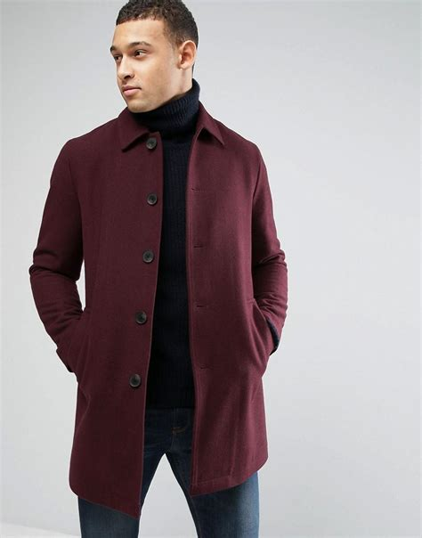 Jaket Jacket Murah King Maroon asos wool mix trench coat in burgundy in for lyst