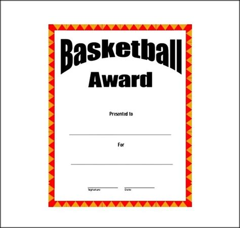 basketball award template free sle templates