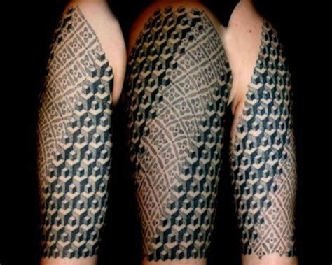 geometric tattoo cube fantastic geometric escher cubes polynesian tattoo