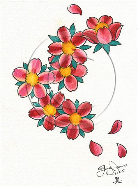 elegant flower tattoo designs cherry blossom flowers design
