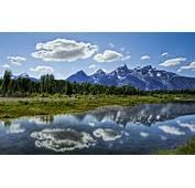 Jenny Lake Grand Teton Wyomingusa Mountains Clouds