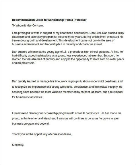 Recommendation Letter For Scholarship From Professor