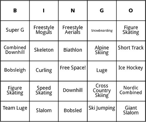 Winter Bingo Card Template by Winter Olympic Events Bingo By Bingo Card Template
