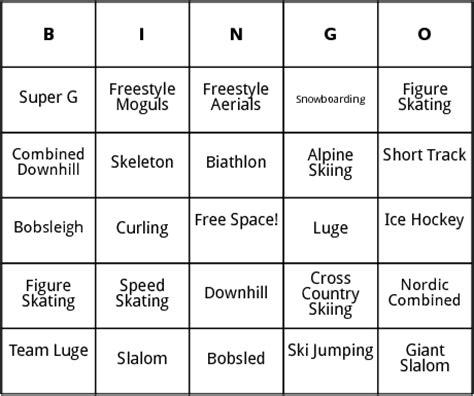 winter bingo card template winter olympic events bingo by bingo card template