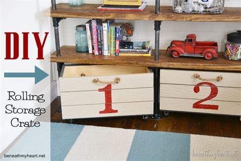 industrial shelves for a boy s room beneath my heart diy rolling storage crate for the boys room beneath