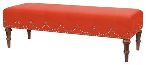 orange upholstered bench bright nailhead trim bench orange red transitional