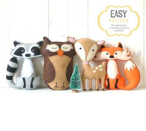 Pattern For Felt Woodland Animals | woodland stuffed animal patterns felt fox owl deer raccoon