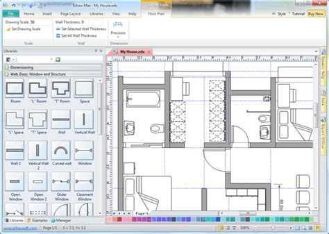 software draw floor plan use wall shapes in floor plan