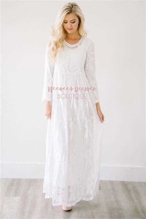 Maxi Remple white maxi floral lace modest dress modest bridesmaids