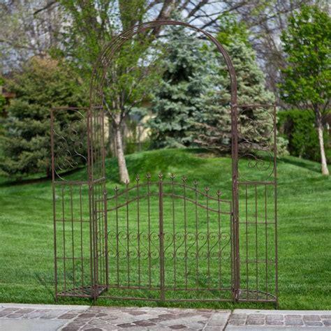 Metal Garden Arbors And Trellises Outdoor Metal Gate Arbor With Plant Stands Garden Pergola