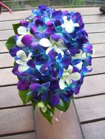 blue flowers for wedding blue purple white orchid bouquet