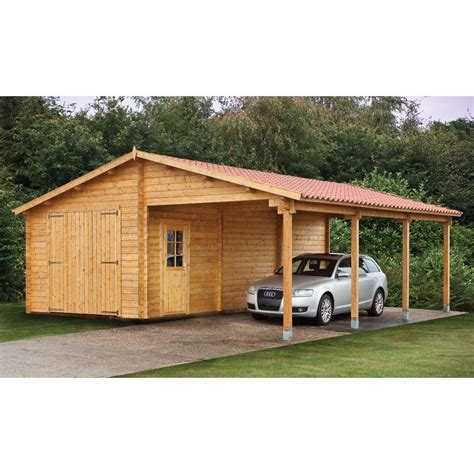 Garage With Carport by Wood Sheds With Carports Tuin 13ft X 27ft 4m X 8 30m
