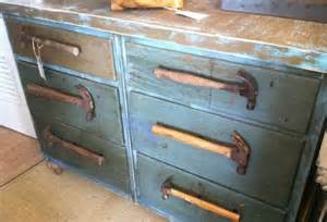 repurposed blue vintage dresser w hammer drawer by