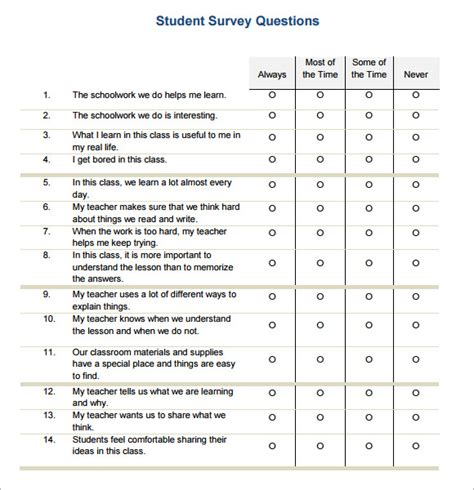 student satisfaction questionnaire template learning surveys templates survey templates and worksheets