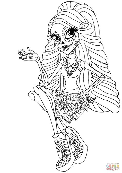 monster high skelita calaveras coloring pages cool skelita coloring page free printable coloring pages