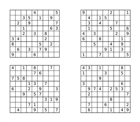 free printable sudoku templates prinable sudoku templates 15 free word pdf documents