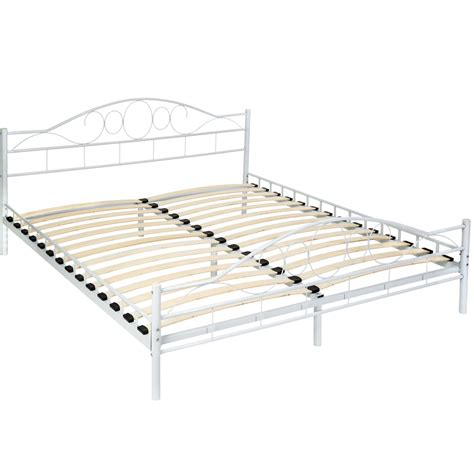 king slatted bed frame double metal bed frame king size modern luxury 180x200cm
