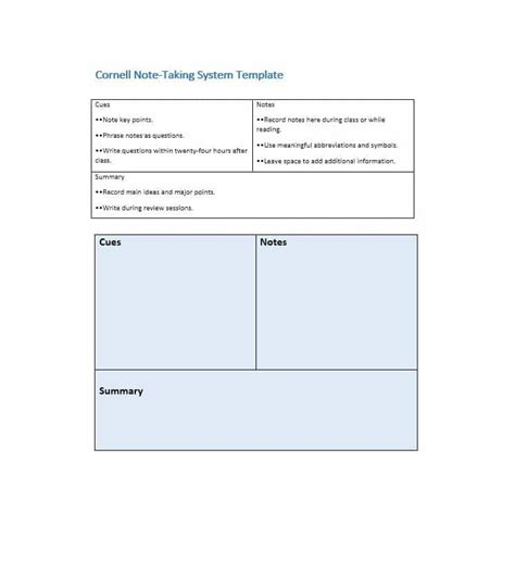 cornell method template 36 cornell notes templates exles word pdf